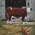 Barnyard Ladies-10x8 oil-Sold