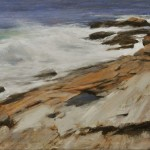Crashing waves on sweeping rocks-12x24-SOLD