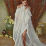 Draped figure 11x14 oil on canvas