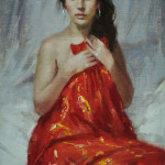 Draped in red-9x6 oil -SOLD