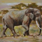 Elephant-8x10 oil on wood panel-private collection