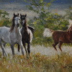 Frisky ladies-6x9 oil on linen-SOLD