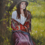 Girl in a Silk Shawl- 14x11 oil -Private collection