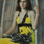 Girl in a wicker-9x6 oil-SOLD