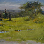 Green Tractor-6x8 oil on linen-SOLD