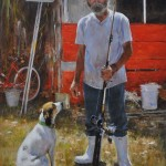 Lula Belle and the Preacher Fisherman-24x18 oil-SOLD
