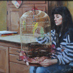 Pretty Bird-12x17-oil-Private Collection
