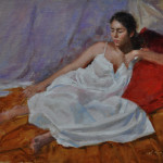 Red pillows!-9x12 oil on linen panel-SOLD