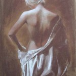 Silk Robe-13x20-conte and white chalk