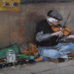Street Fiddler,6x9 oil on linen-SOLD