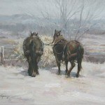 Winter Team 12x16 oil on canvas