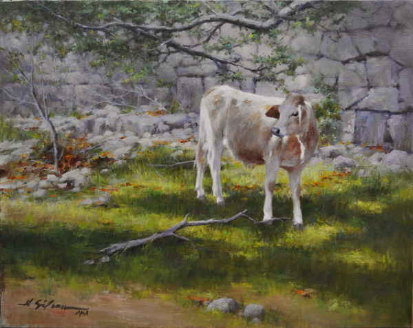 The Curious Calf-16x20 oil on linen