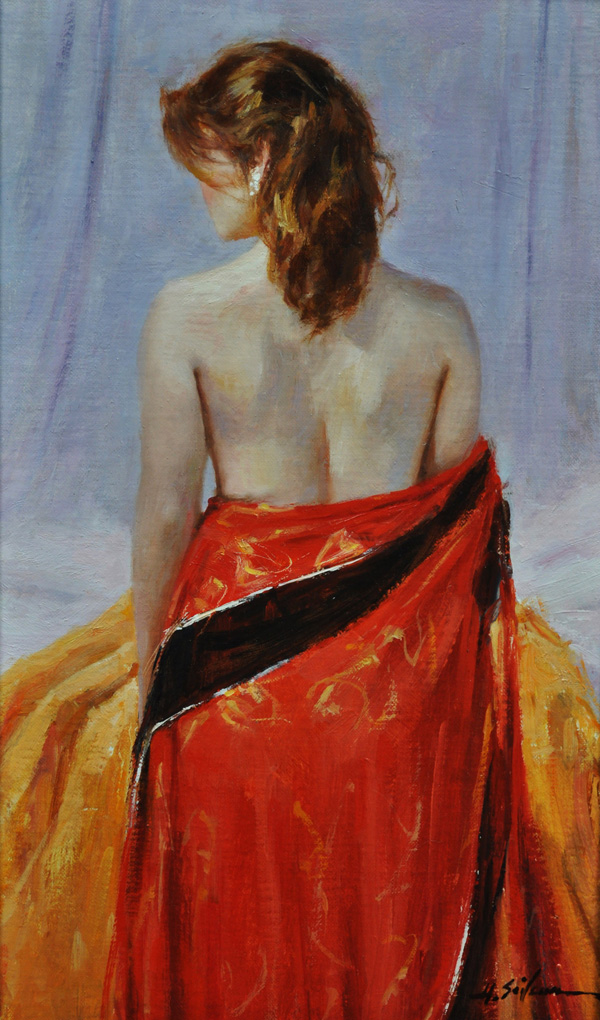 The Red Kimono-15x9 oil on linen