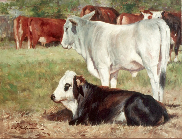 Step 5-Old Mason Rd Cattle-12x16oil on linena